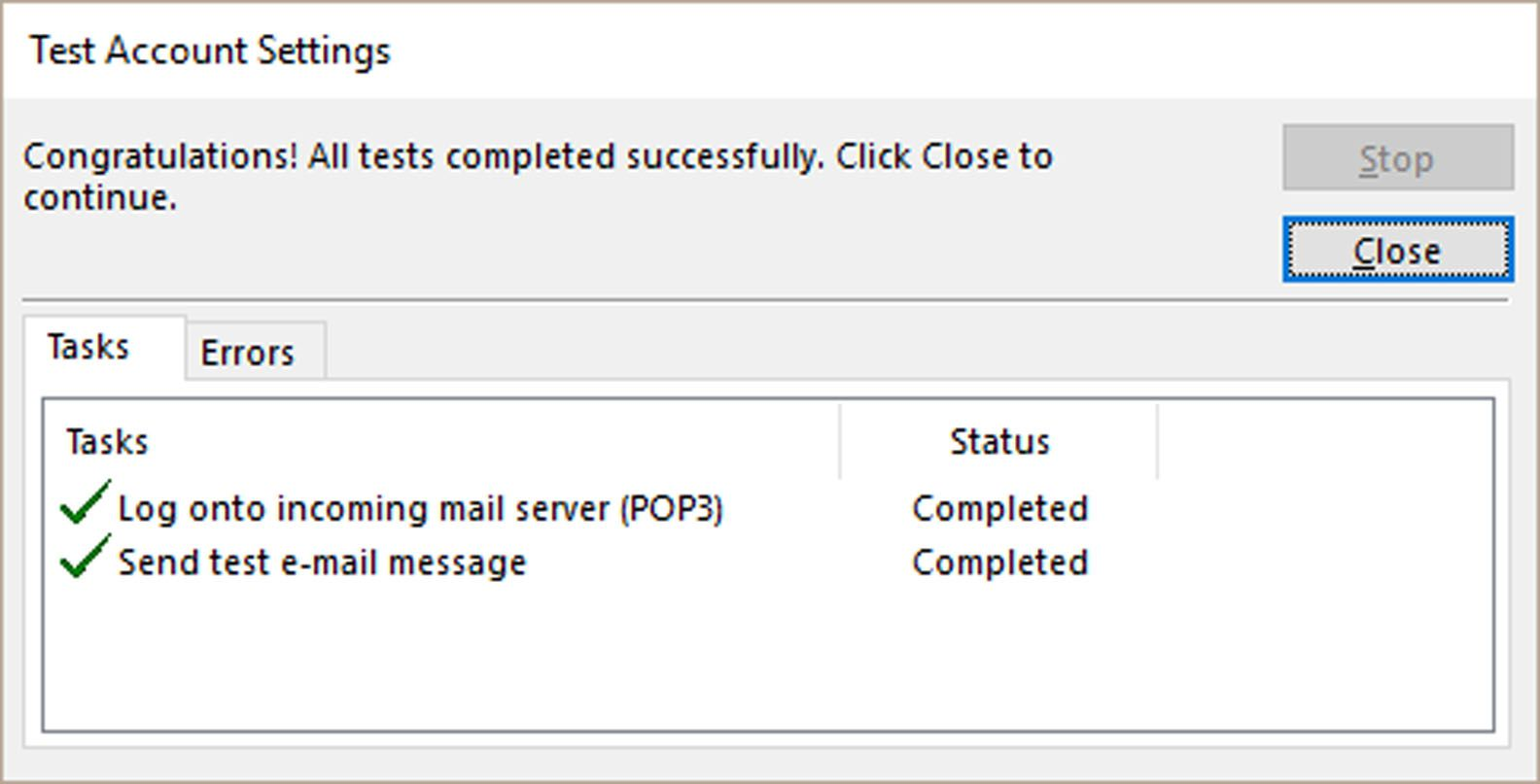 Outlook with Test Account Settings dialog box displayed