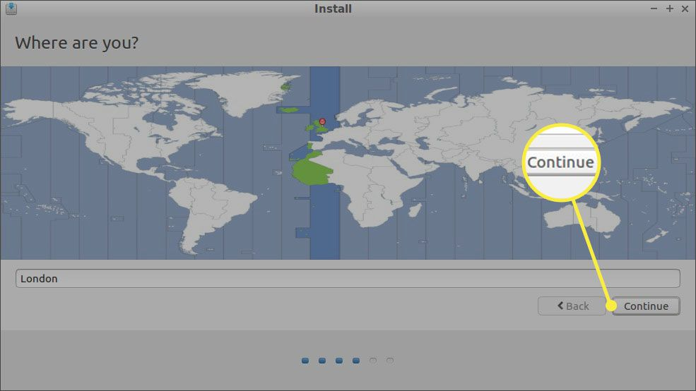 Choose your timezone on the map or enter a city in the box provided, then select Continue.