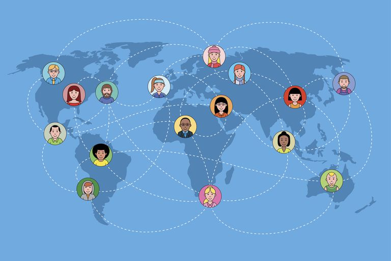 An image graphic of a world map with people icons all over it.