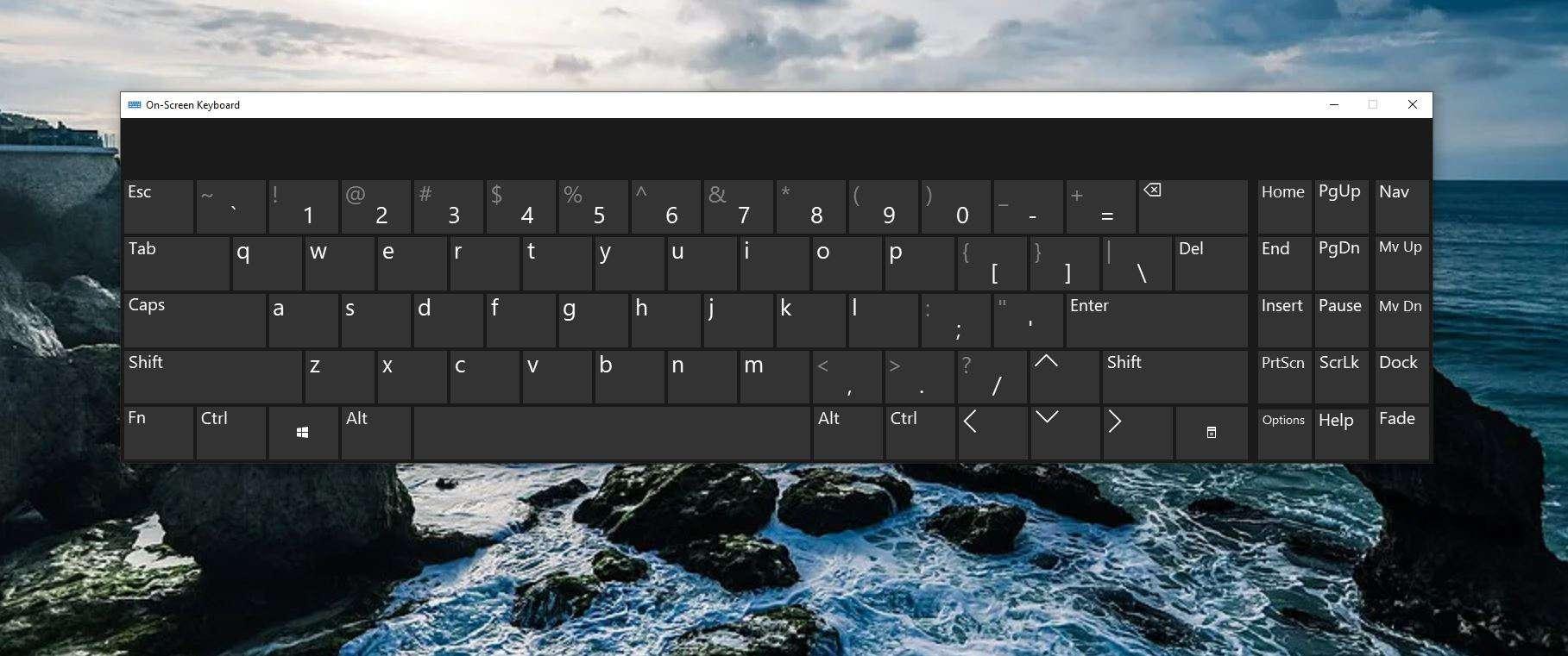 On-screen keyboard in Windows