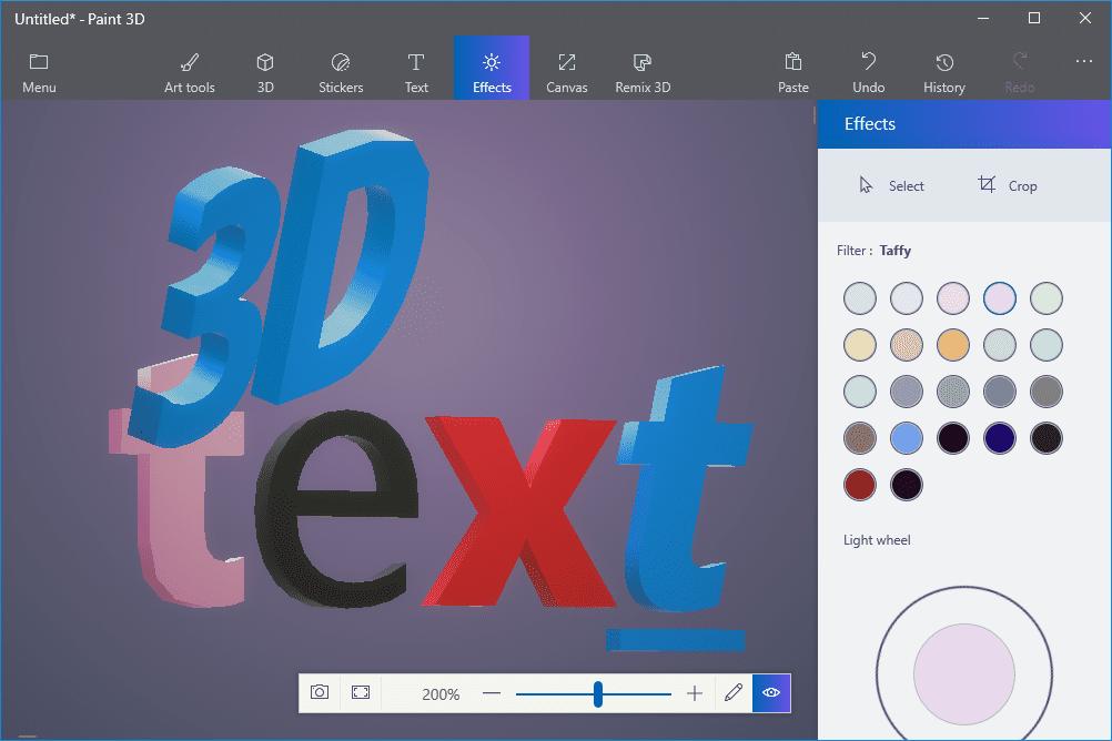Screenshot showing 3D text in Paint 3D