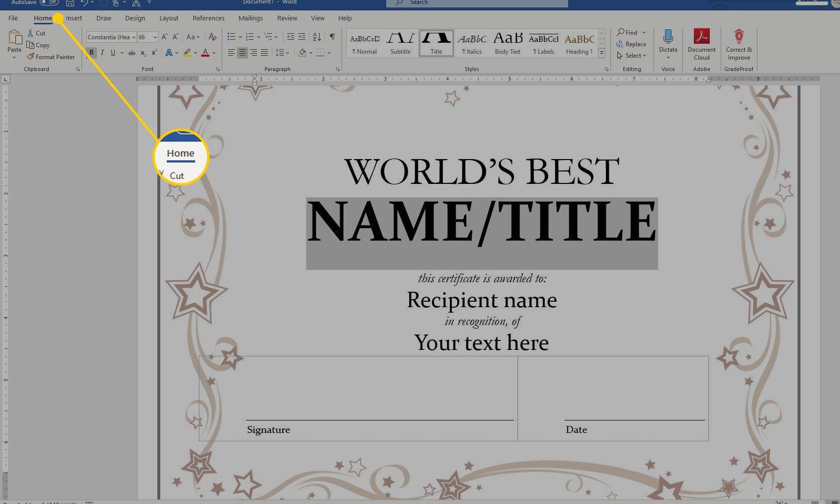 Using a Certificate Template in Microsoft Word Pertaining To Award Certificate Templates Word 2007