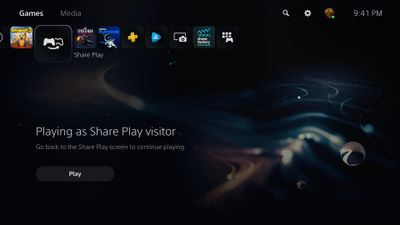 A Share Play window on PS5