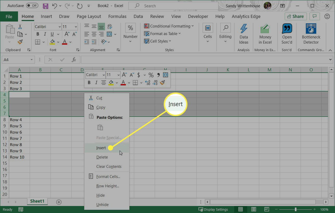 Using the right-click men to insert in Excel.