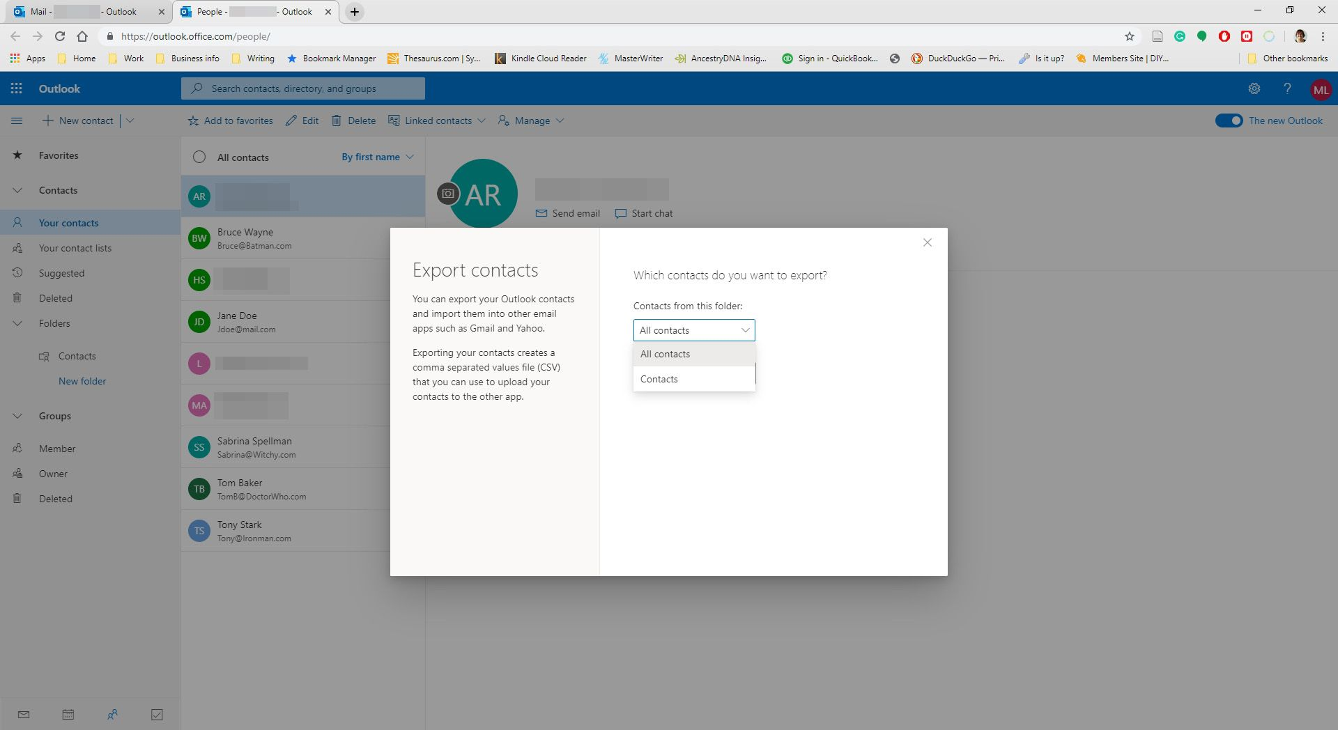 Export Contacts and Email Addresses From Outlook Mail