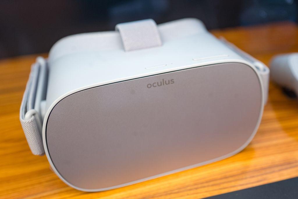 Oculus Go headset on a desktop
