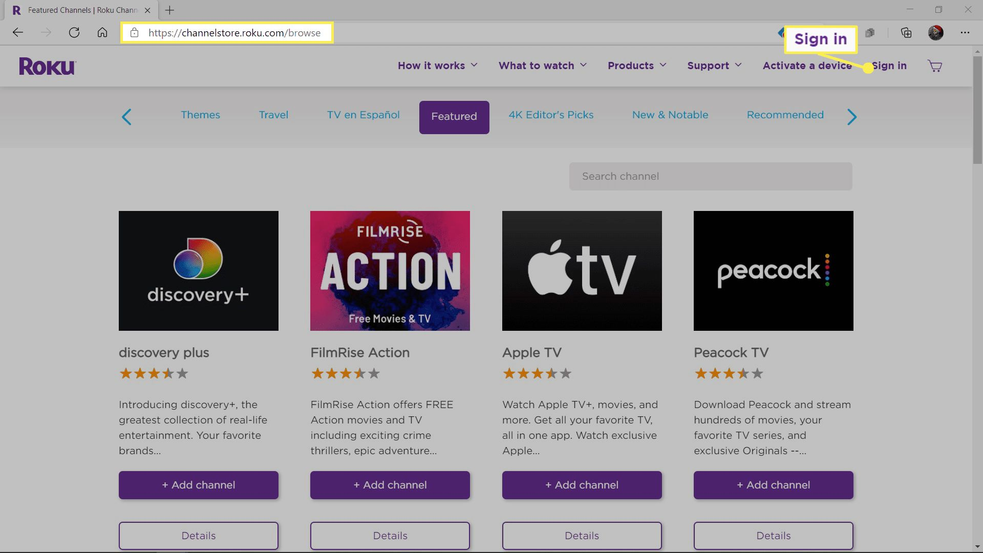 The Roku Channel Store with the search bar highlighted.