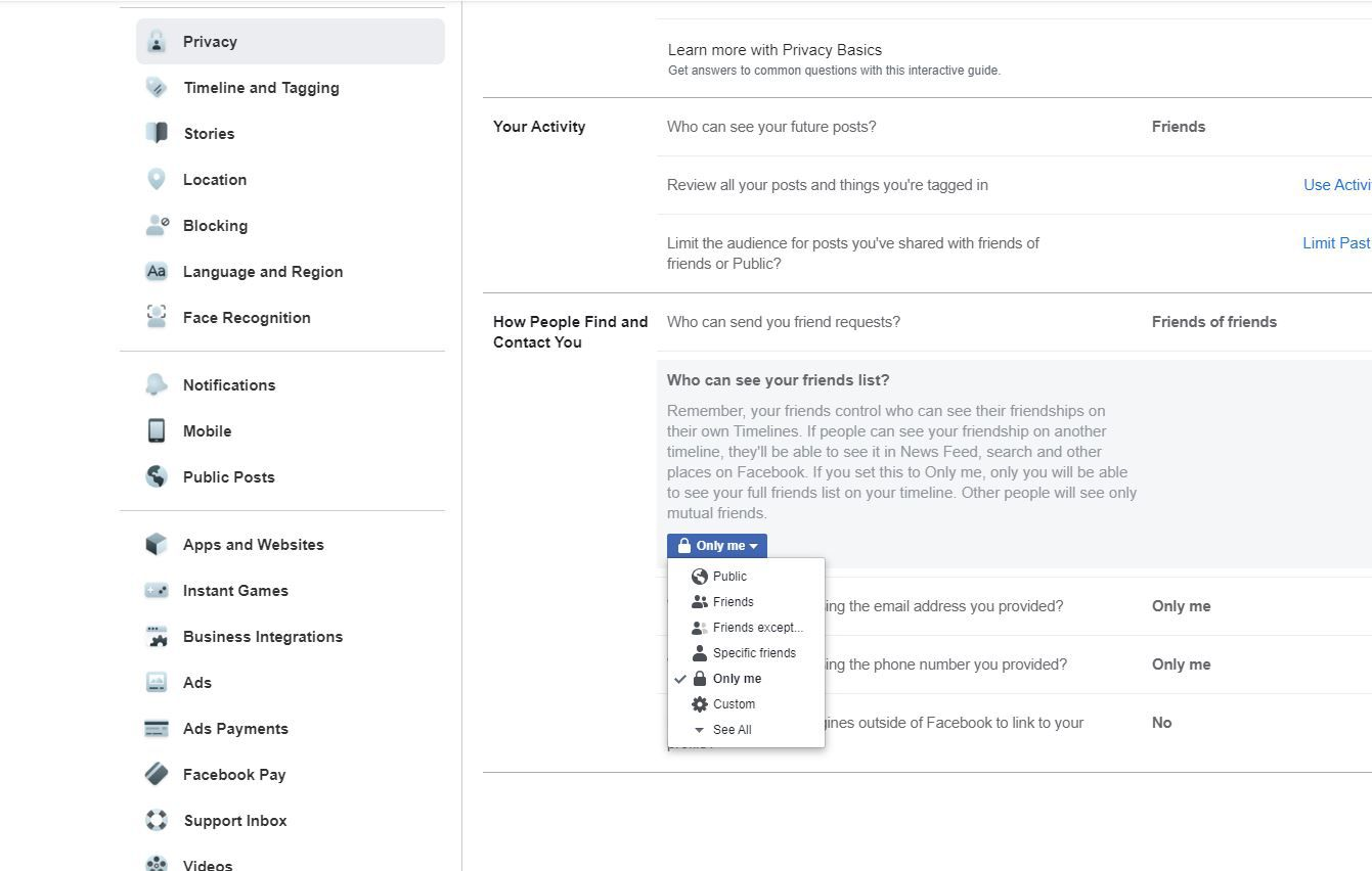 Who can see your friends list? settings in Facebook