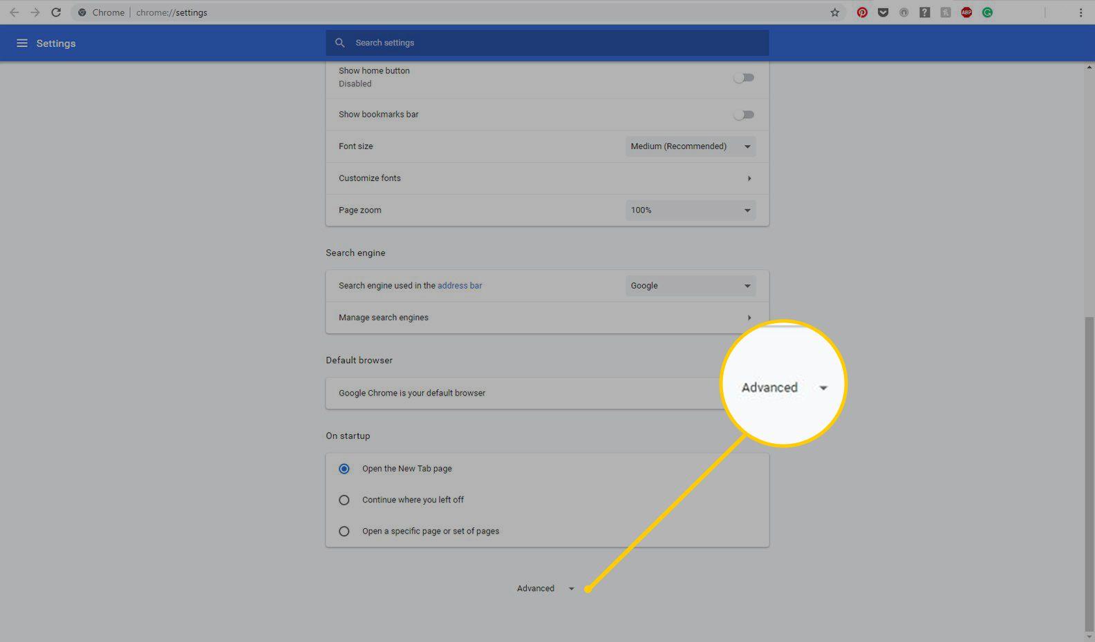 Advanced settings menu in Chrome