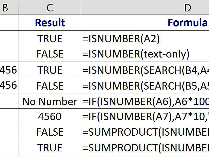 Excel ISNUMBER Function to Find Cells With Numbers