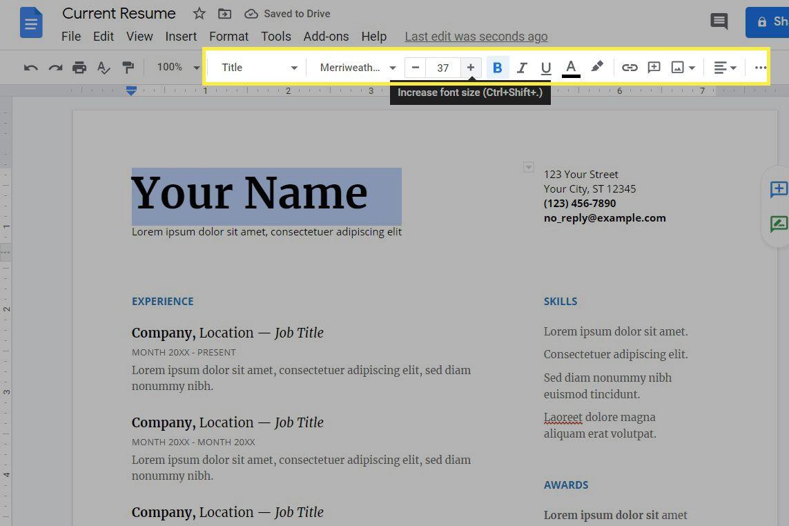 Google Docs font editing and size tool.