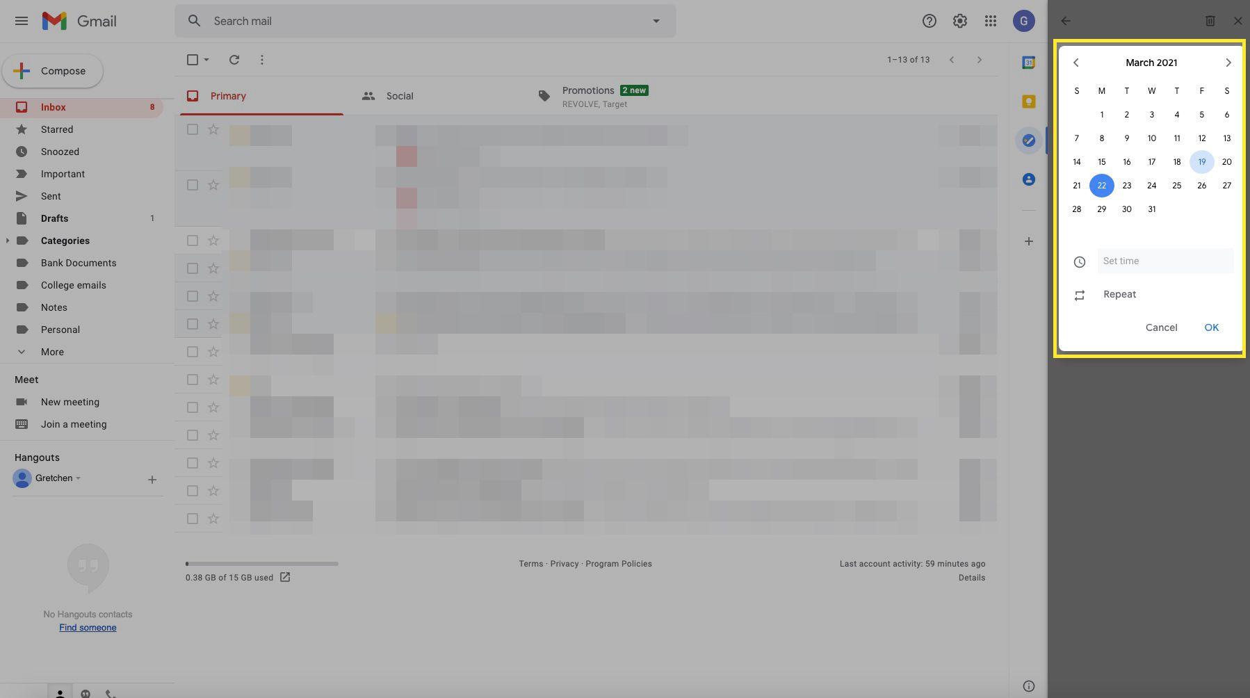 Google task with calendar/date highlighted
