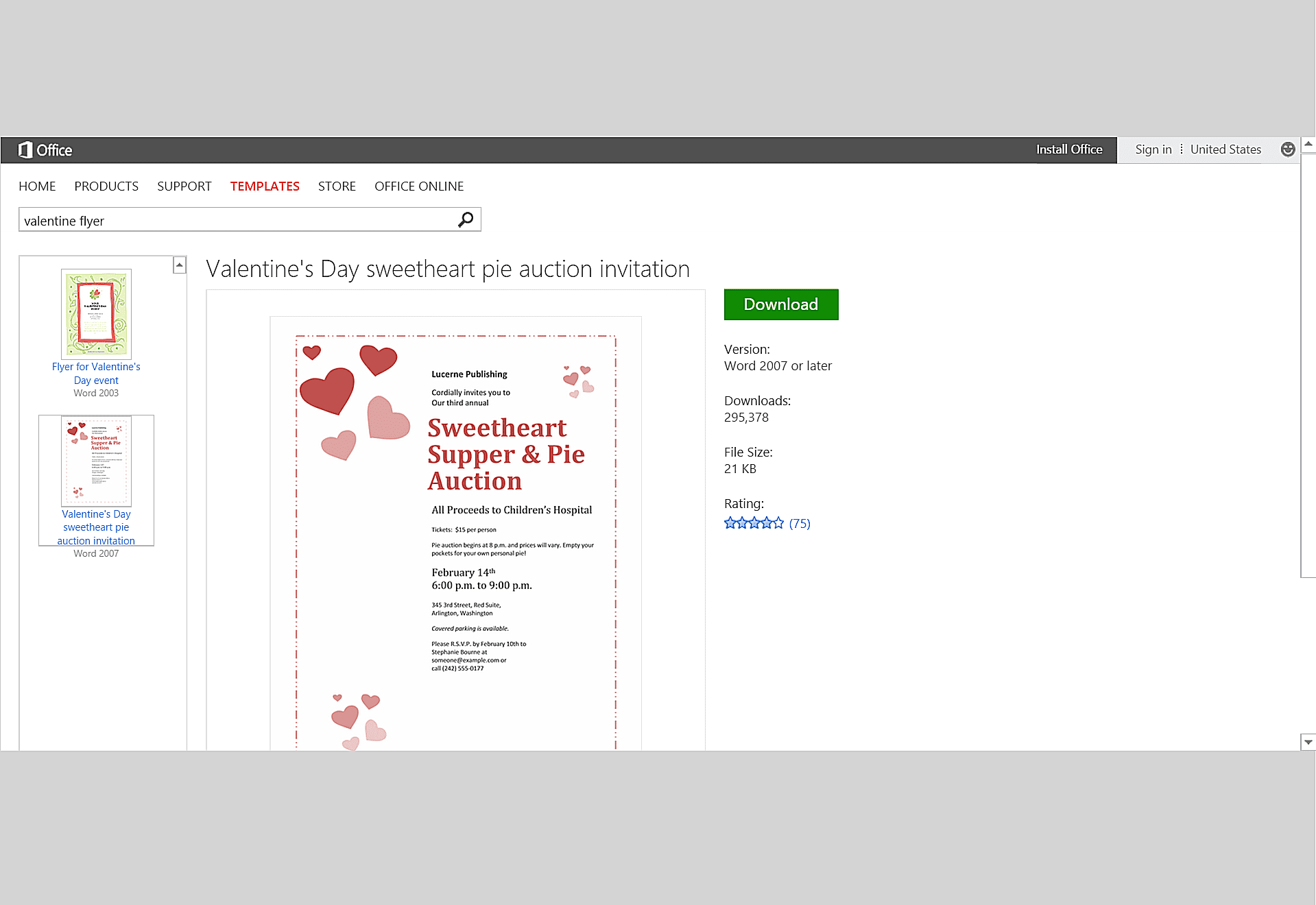 Valentine Hearts Event Flyer Template For Microsoft Word
