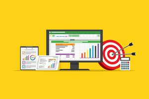 spreadsheet business finance data and marketing target strategy concept in flat design vector illustration