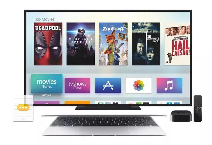 An Apple TV, TV and Mac laptop computer