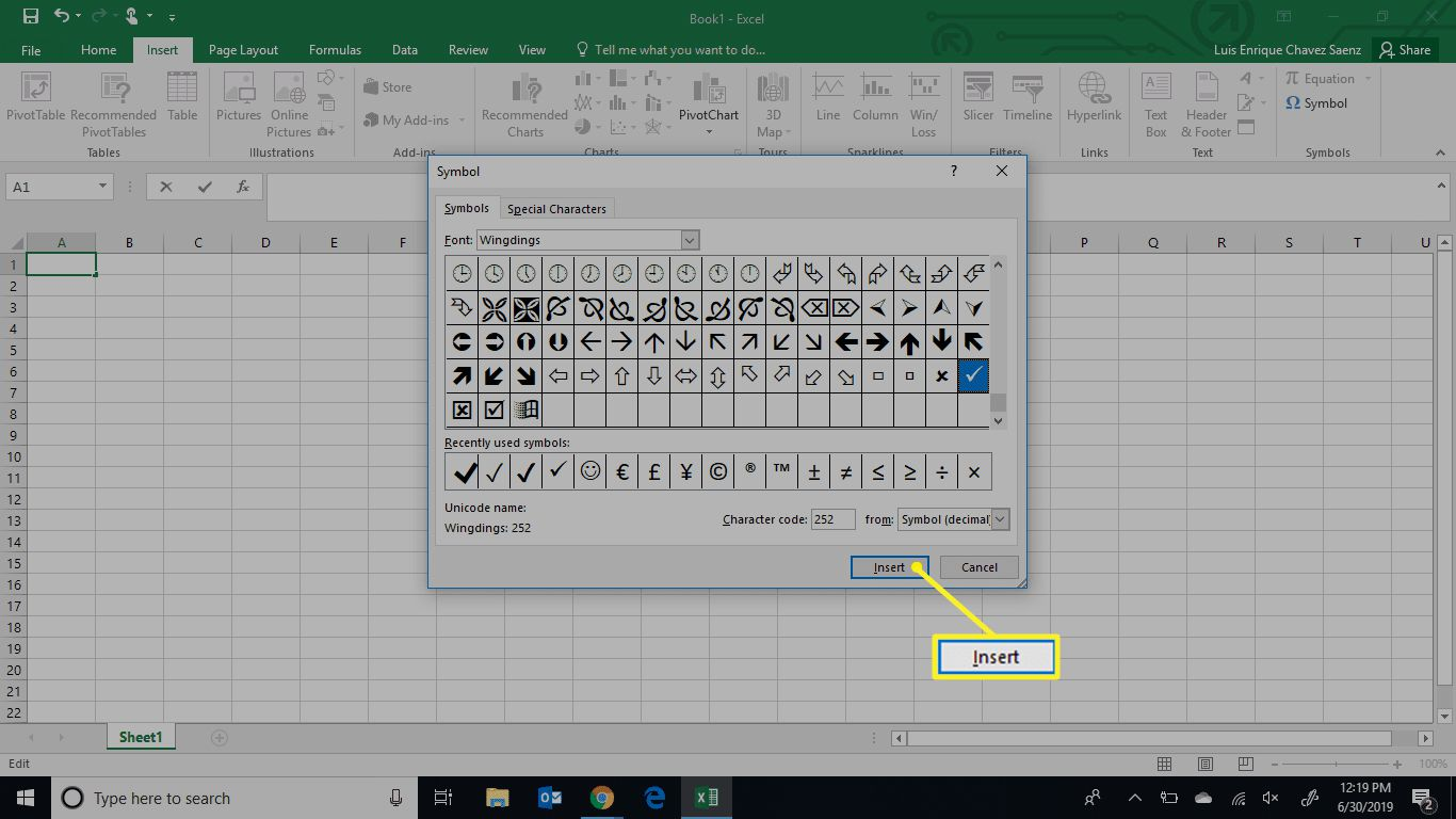 Excel Symbol menu with Insert selected