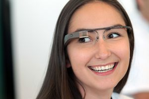 A Google employee wears a pair of Glass during Google's Developers Conference in 2012