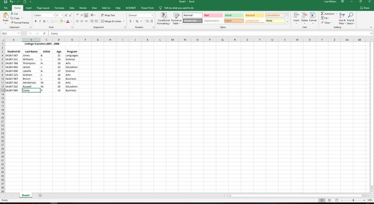 Excel spreadsheet with student data.