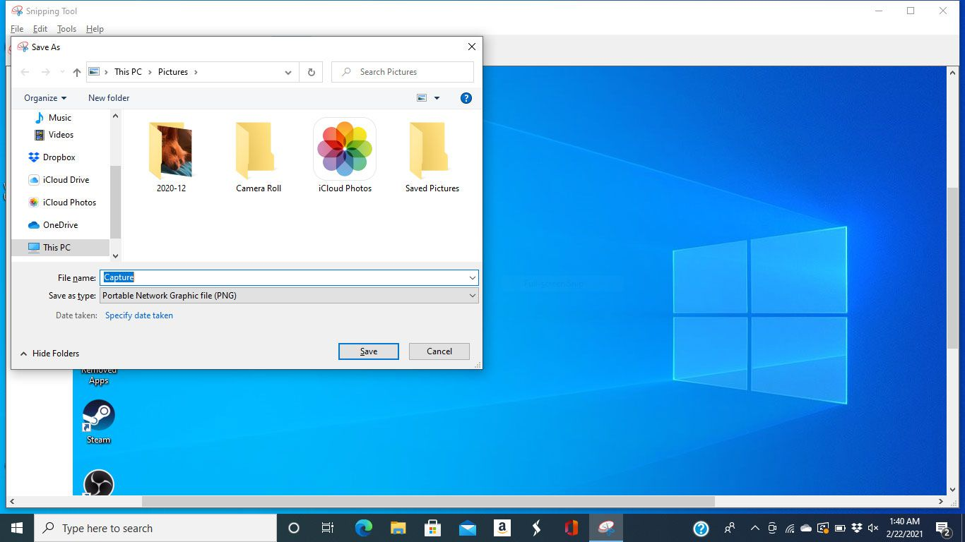 The save window in the Windows 10 Snipping Tool