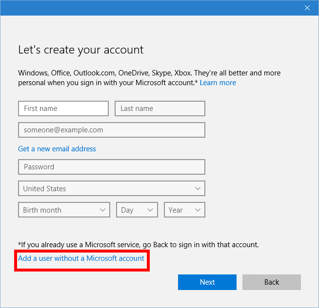 Local accounts in Windows 10 are buried under several links.