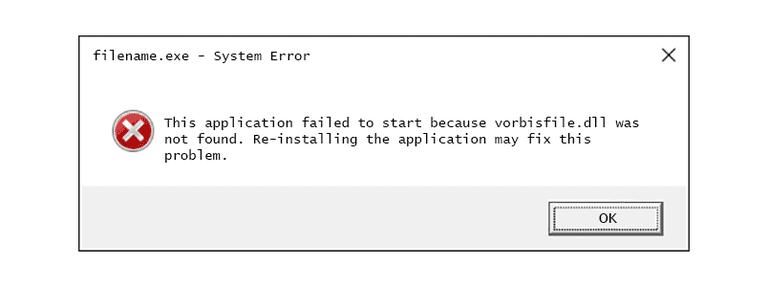 Screenshot of a vorbisfile DLL error message in Windows