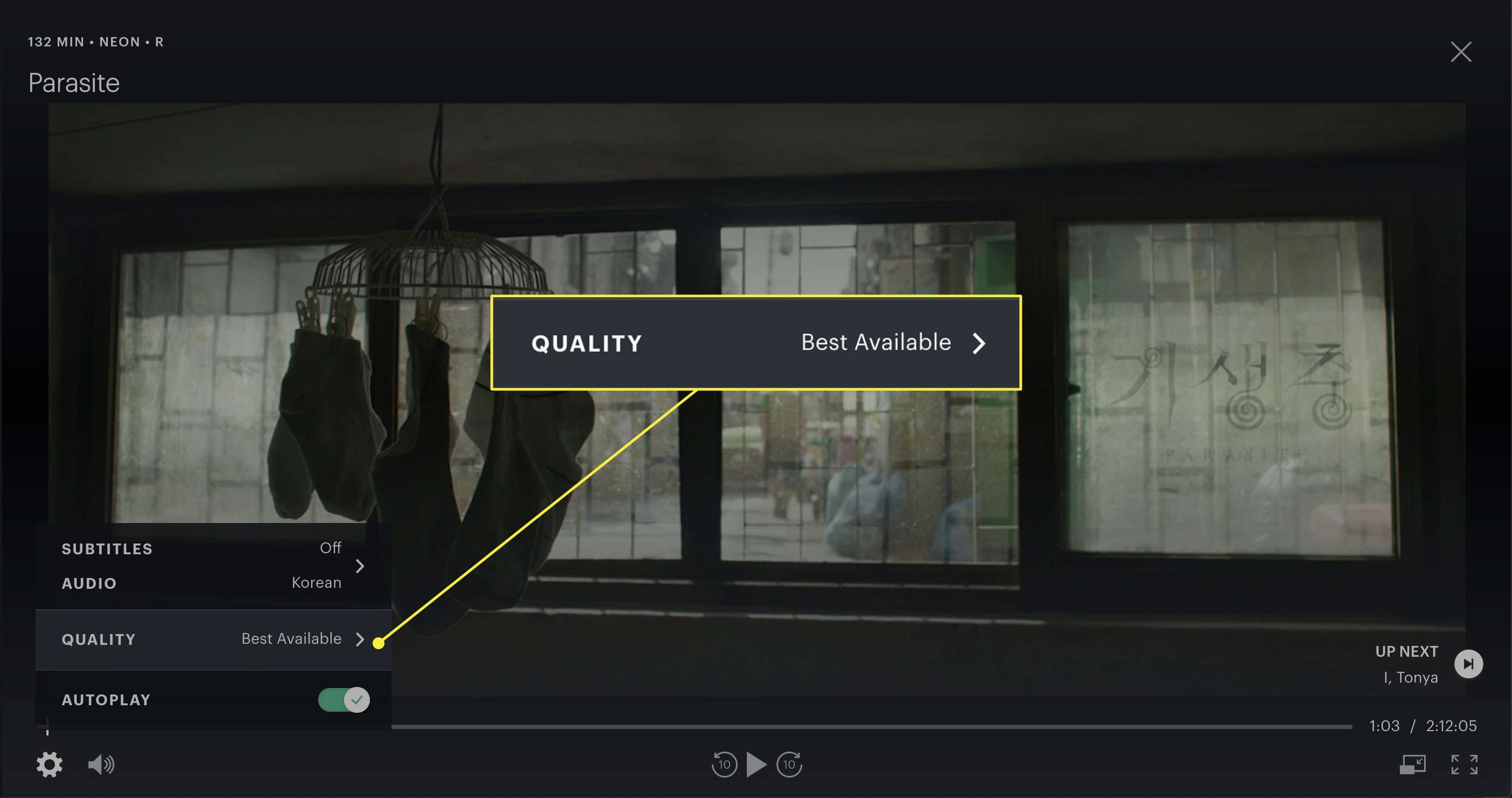 A screenshot of a movie playing on Hulu with the Quality settings highlighted