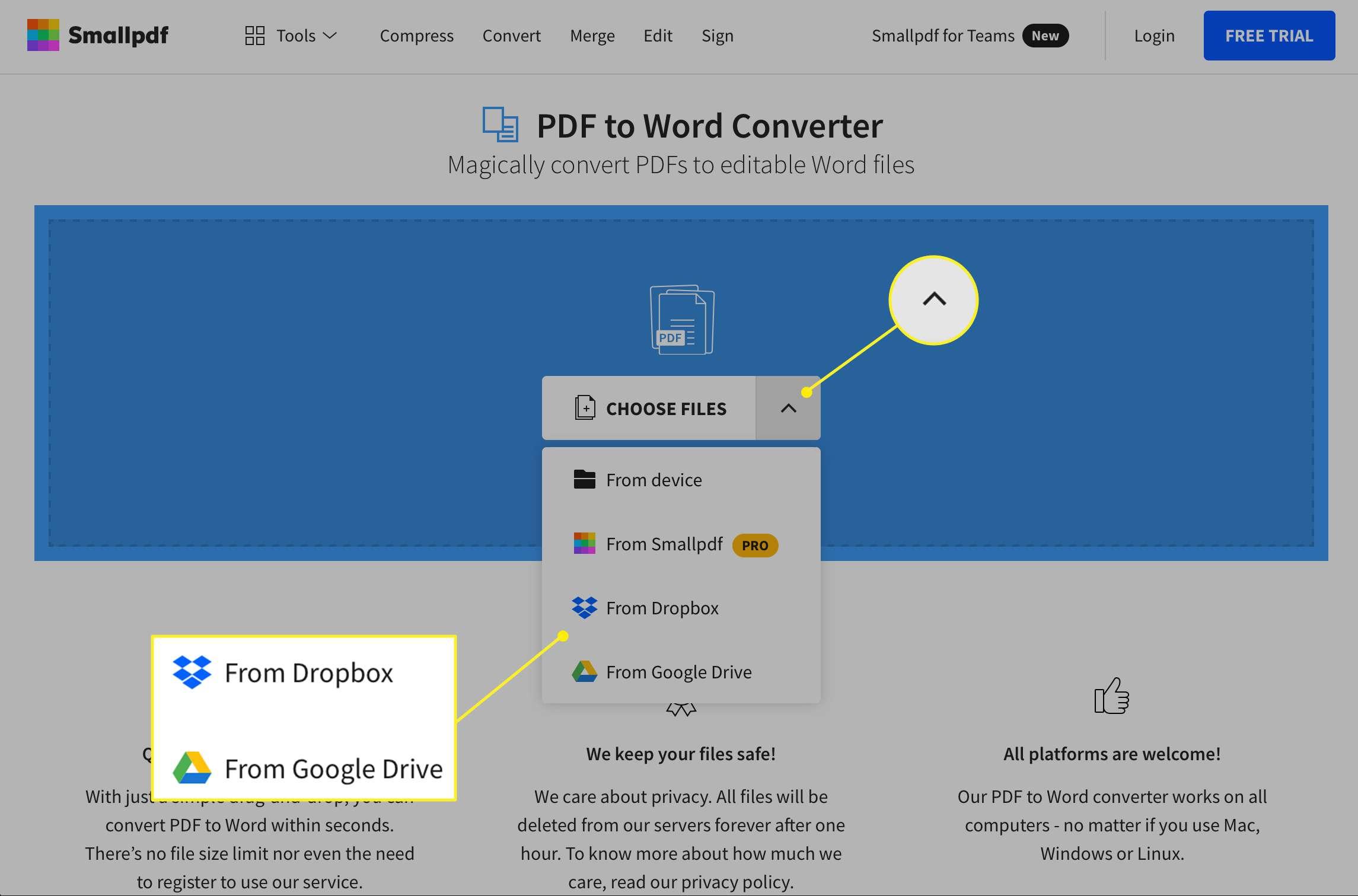 PDF upload options at Smallpdf website