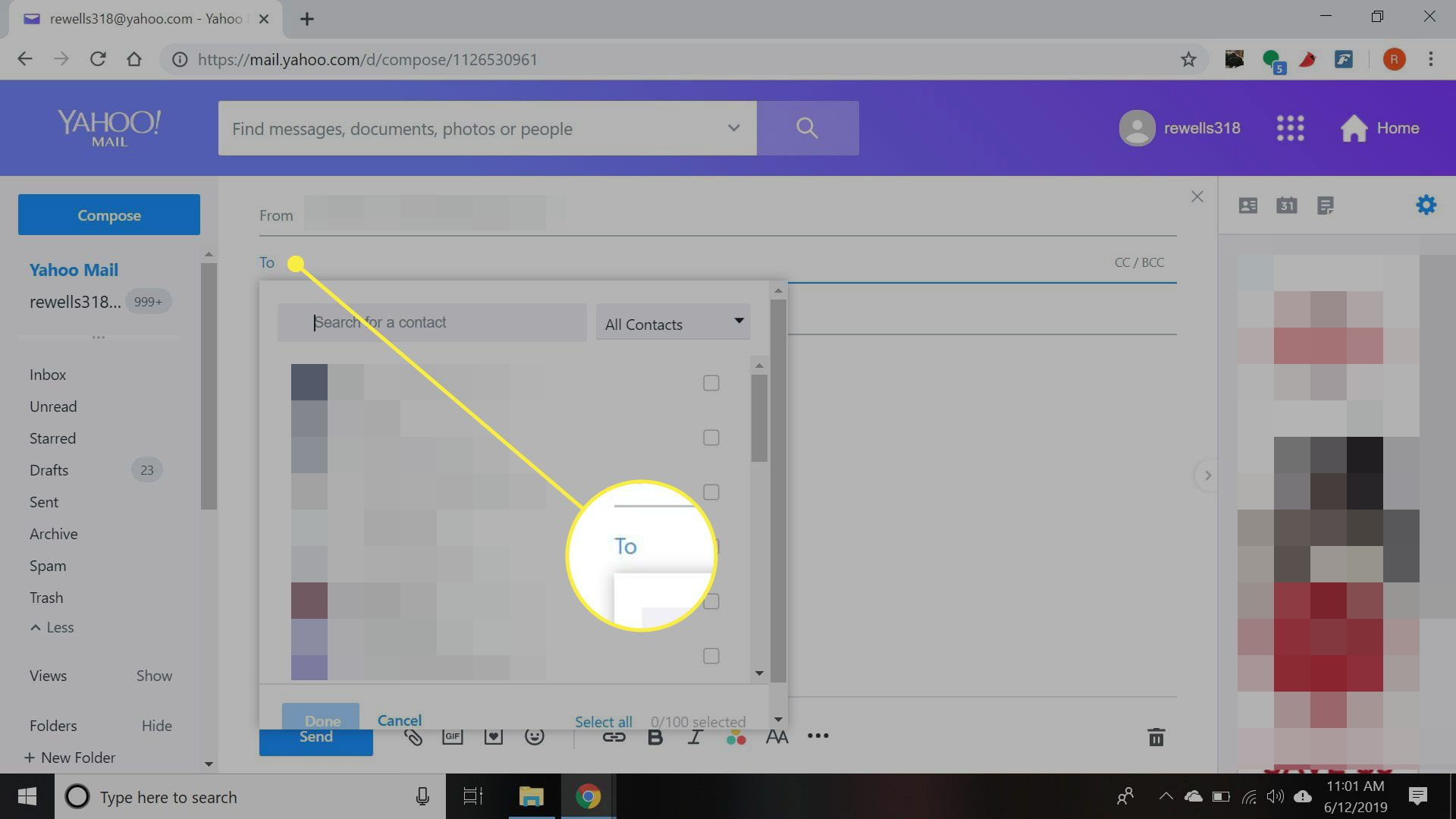 Yahoo Mail with the To field highlighted