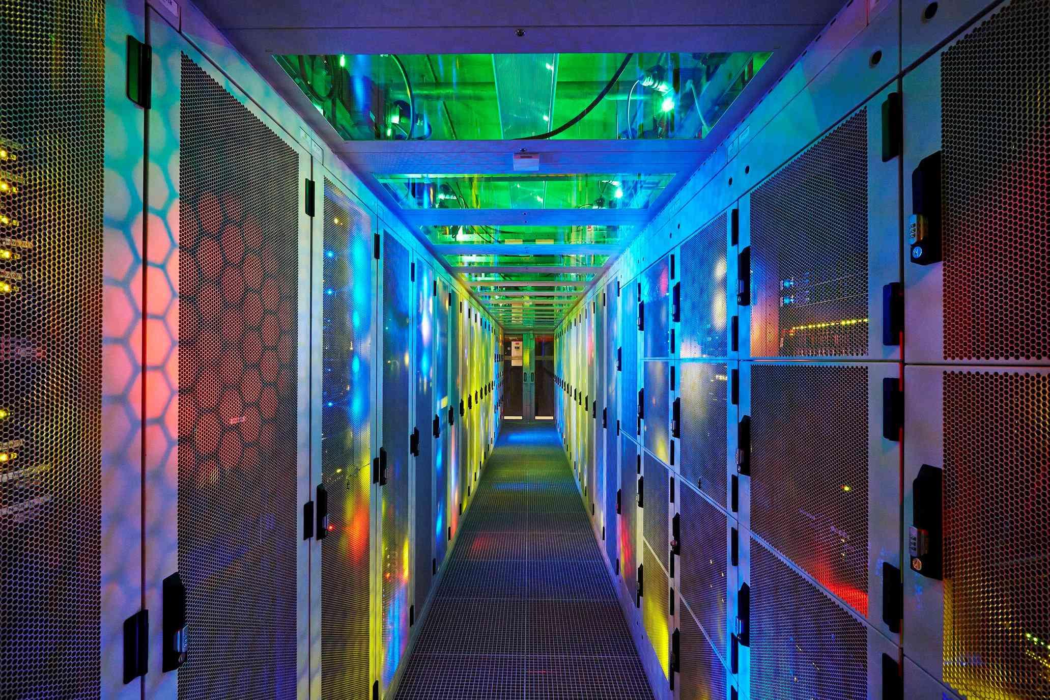 Data center with server racks