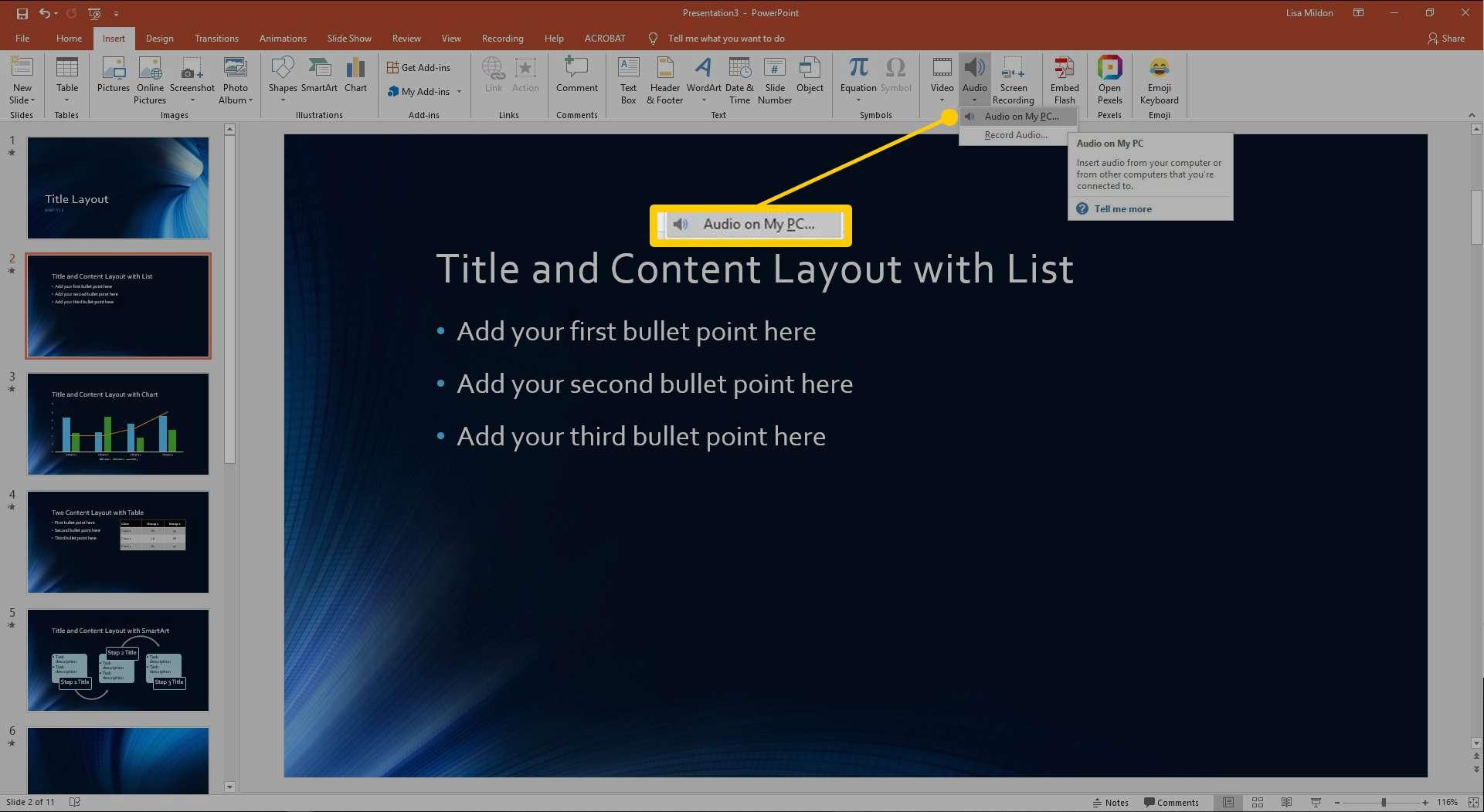 Insert Audio option dialog box in PowerPoint