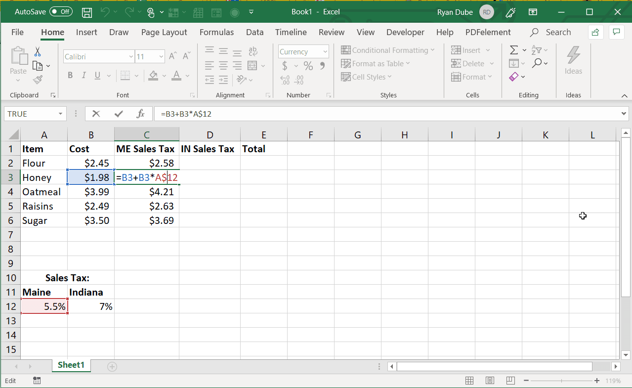 Screenshot of an absolute cell reference after a column fill