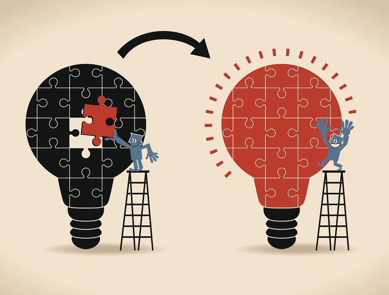 Illustration of businessman standing on ladder, completing an idea light bulb puzzle