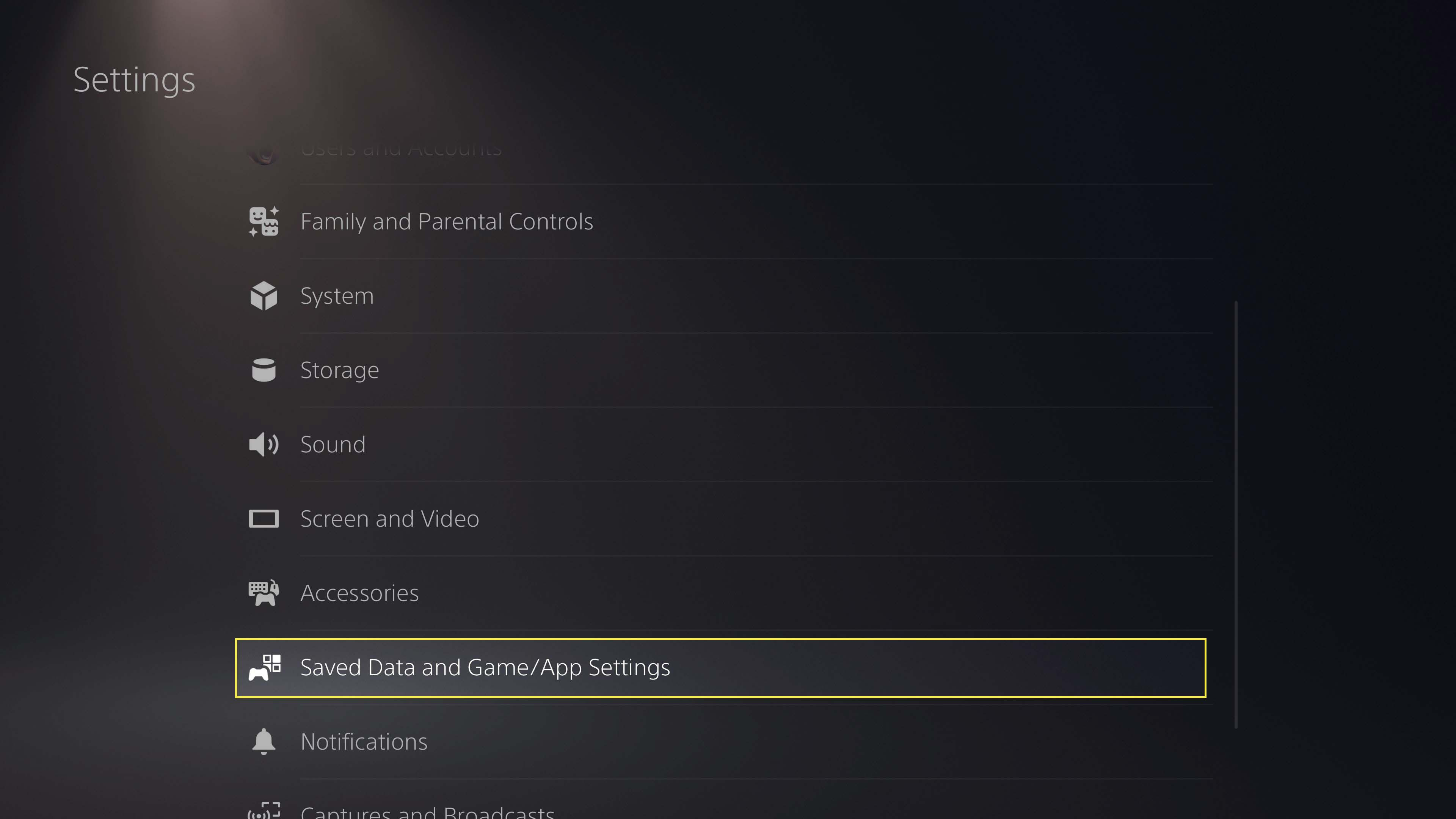 Selecting Saved Data and Game/App Settings on PS5.