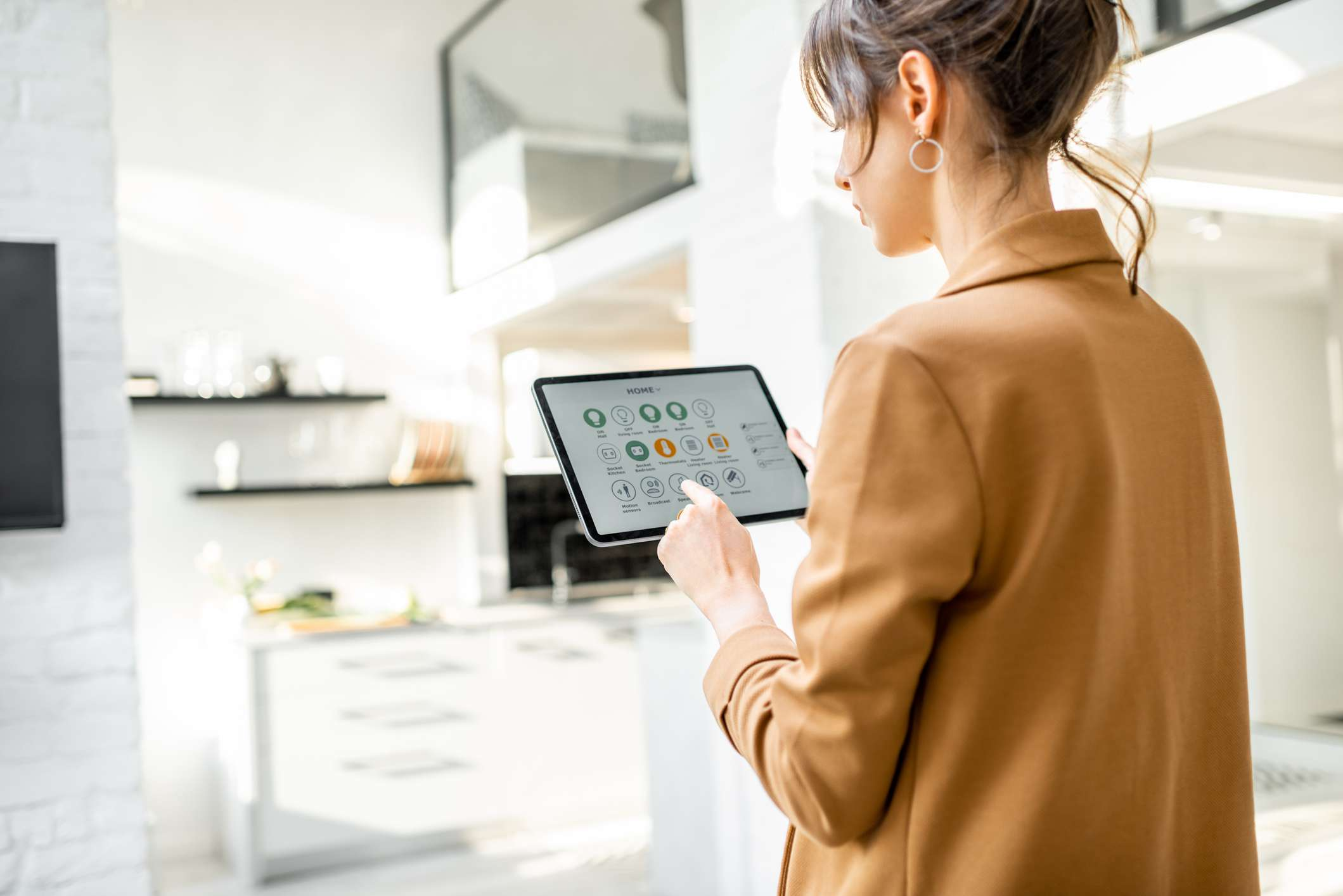 Woman configuring smart home