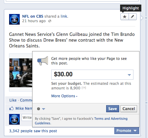 facebook promoted vs highlighted posts