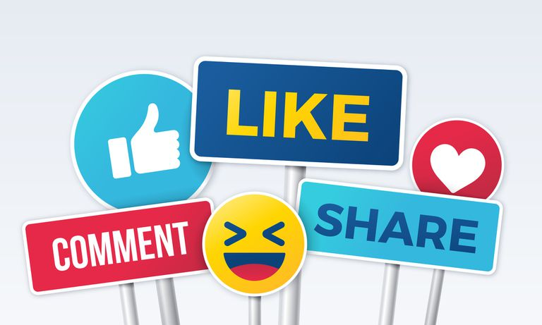 Popular social media reactions - like, comment, share
