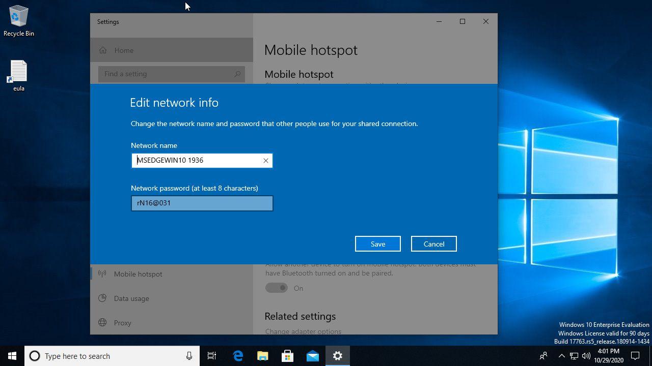 Windows 10 set up mobile hotspot