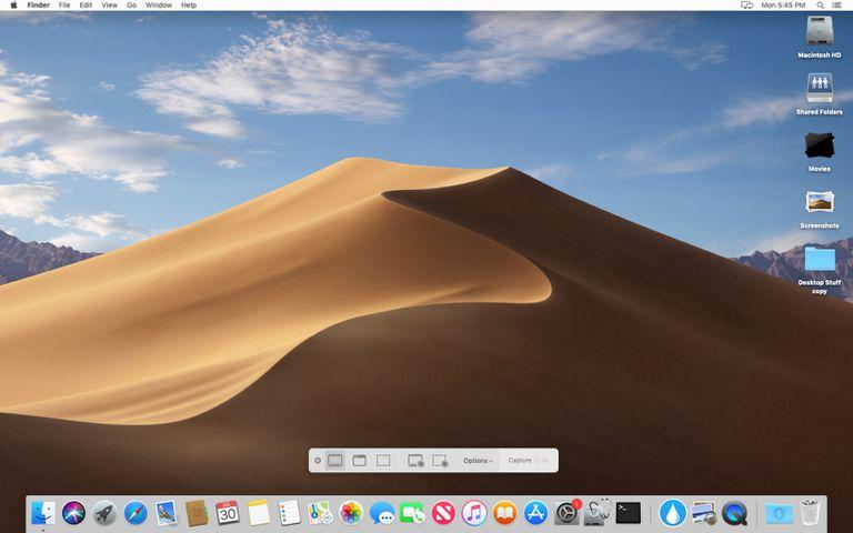 macOS Mojave with screenshot toolbar displayed.