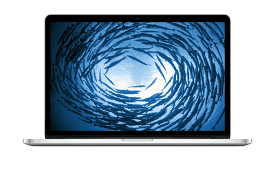 MacBook Pro 15 with Retina Display with school of fish swimming in a circle on the screen