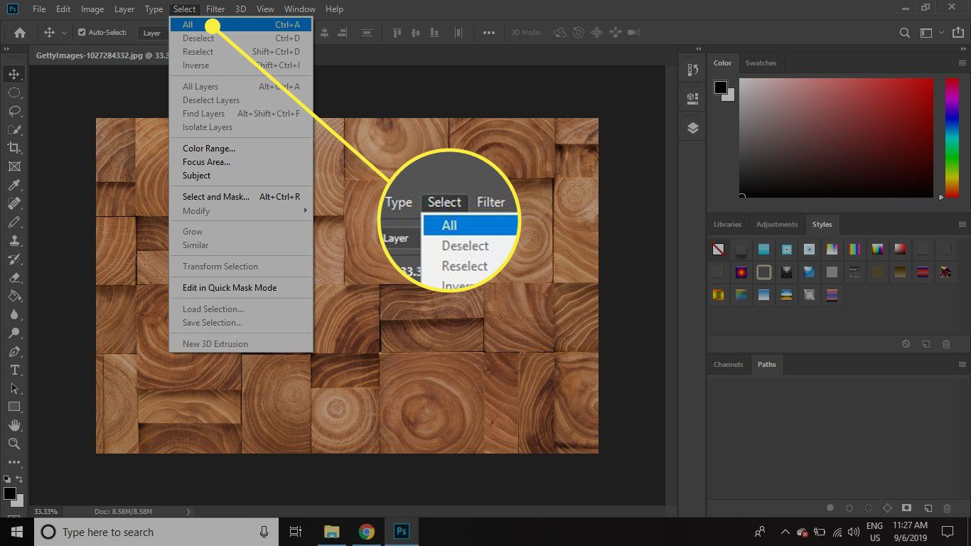 A screenshot of Photoshop with the Select All command highlighted