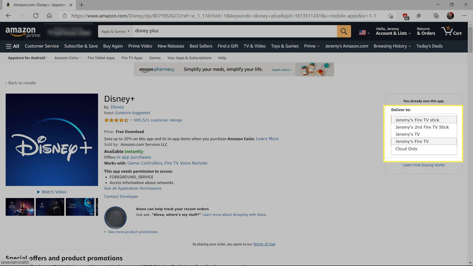 Selecting a Fire TV on Amazon.