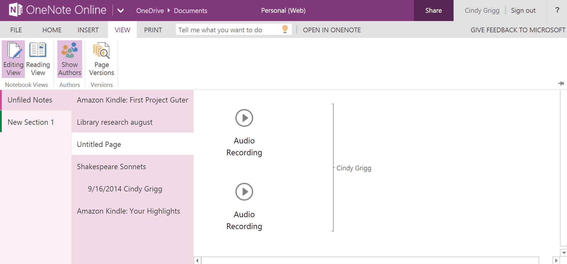 Showing authors for a OneNote page