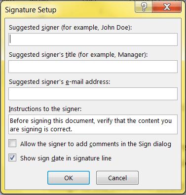 Signatures in Microsoft Word