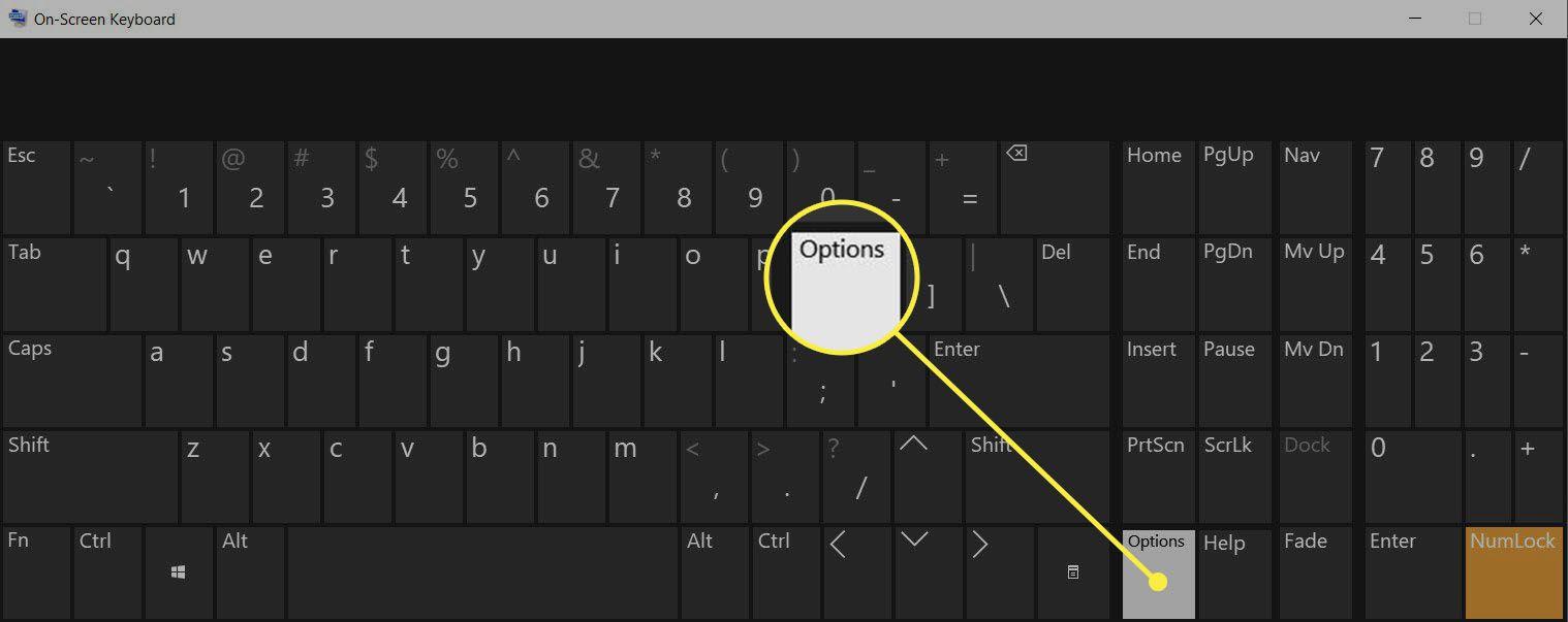 Options key on the OSK Windows 10
