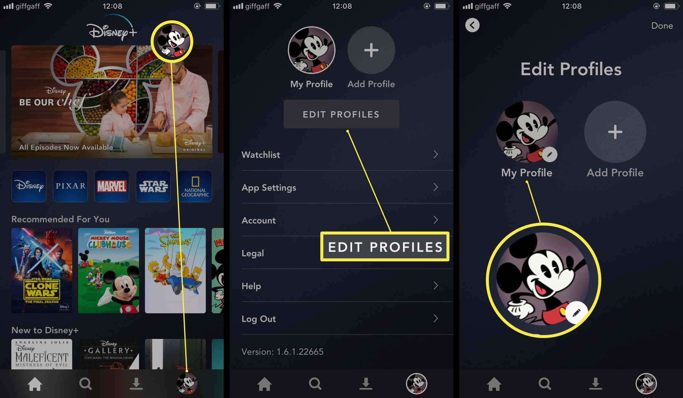 Disney+ app with the steps for editing a profile's settings highlighted