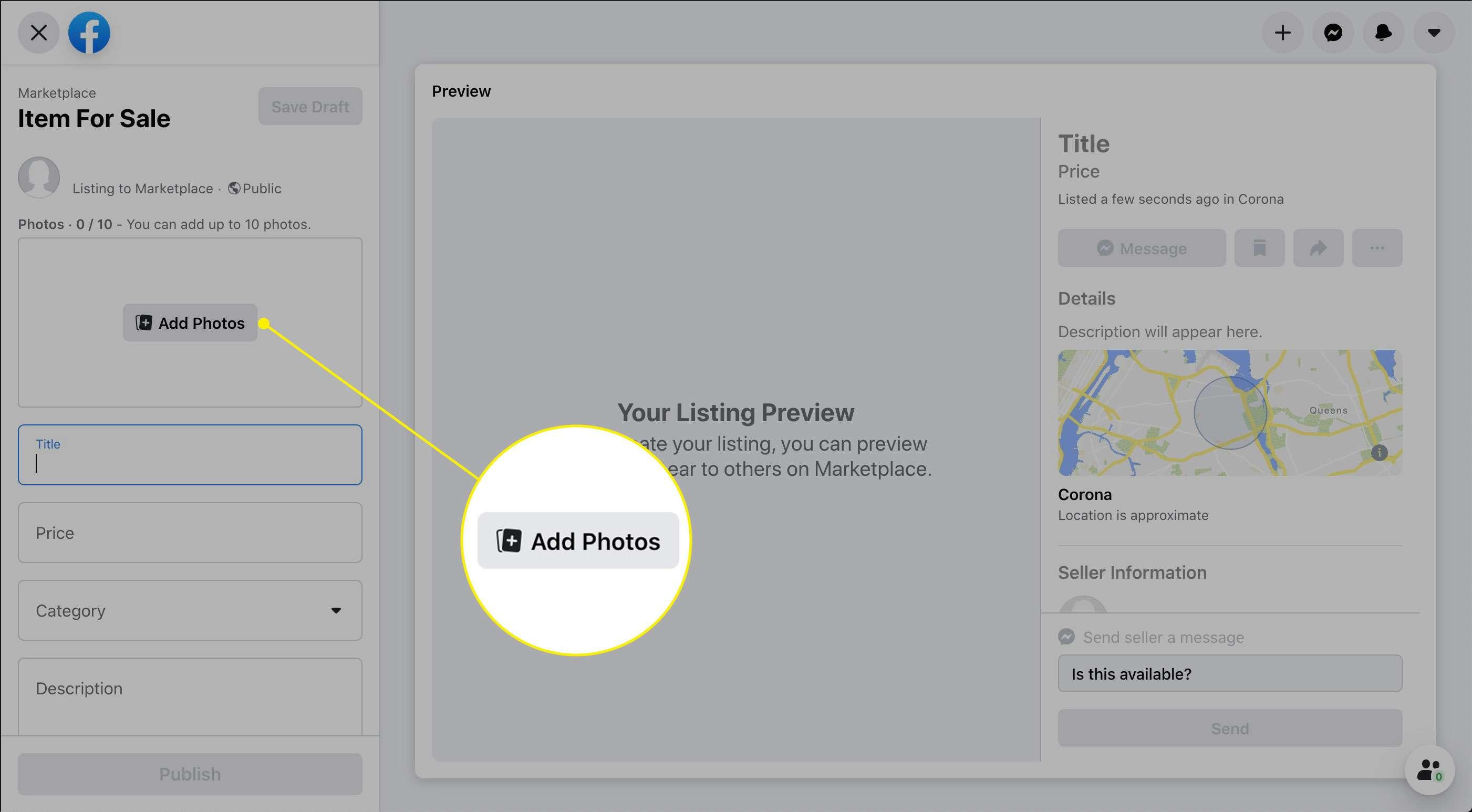The Add Photos button in Facebook Marketplace