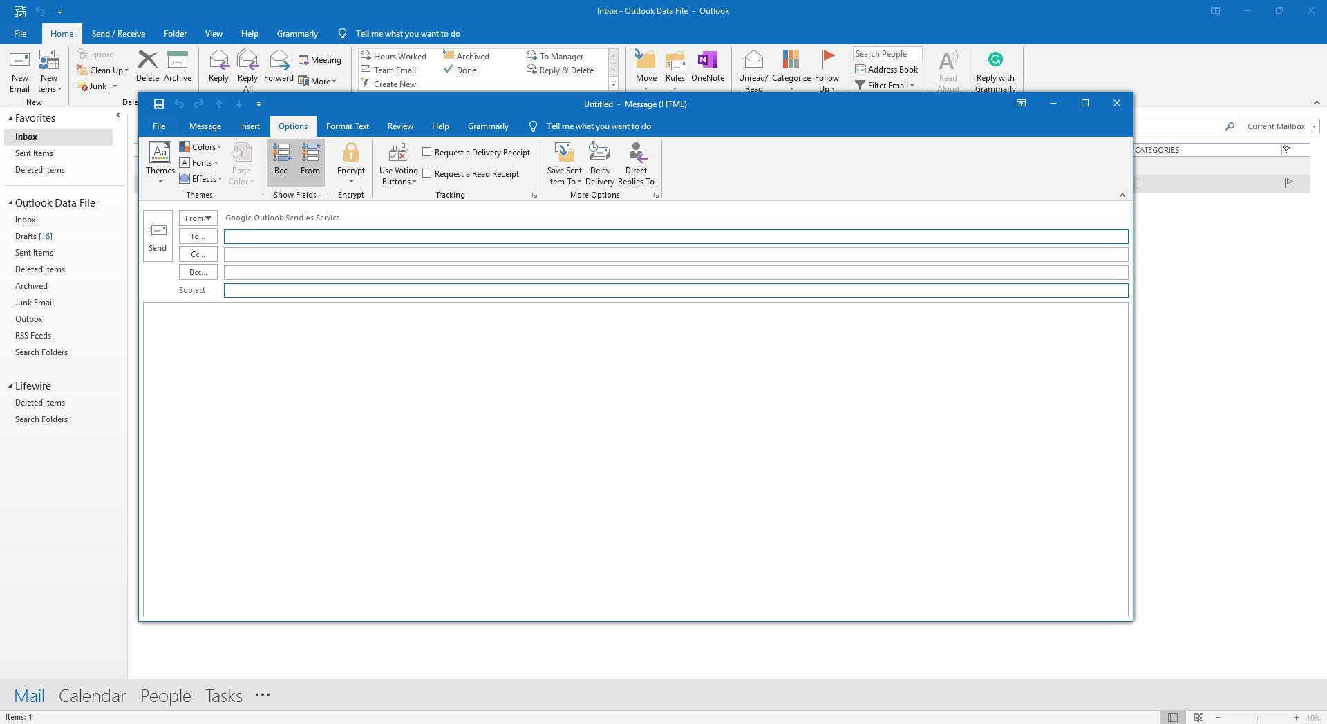 Screenshot of Options tab