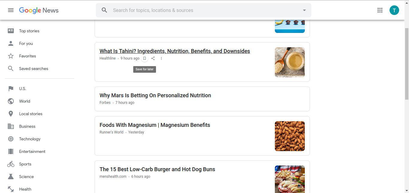 Google News save story screenshot