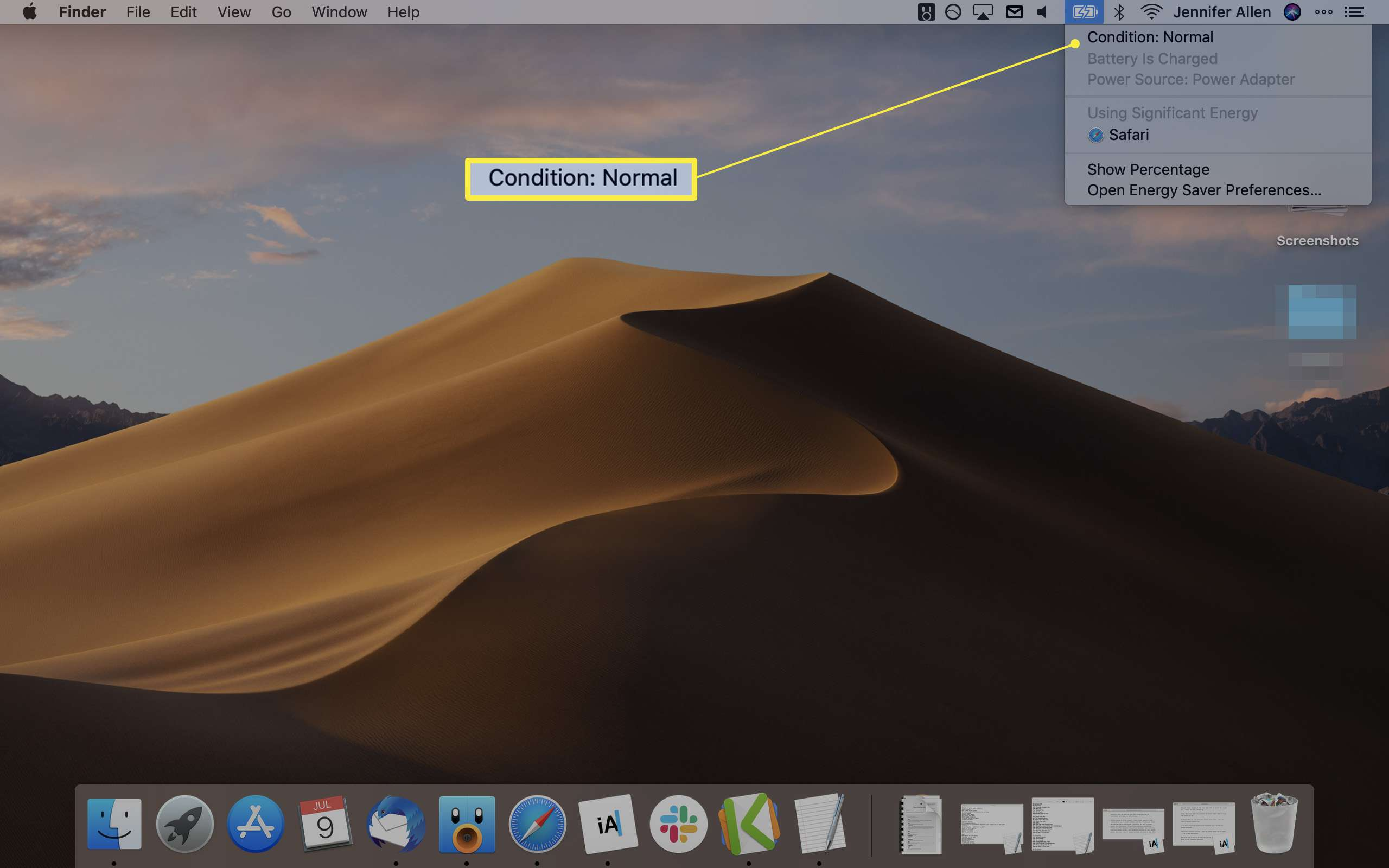 MacOS desktop screen with Battery information highlighted