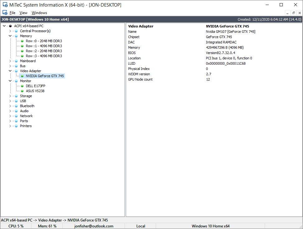 MiTeC System Information X v4.0 in Windows 10
